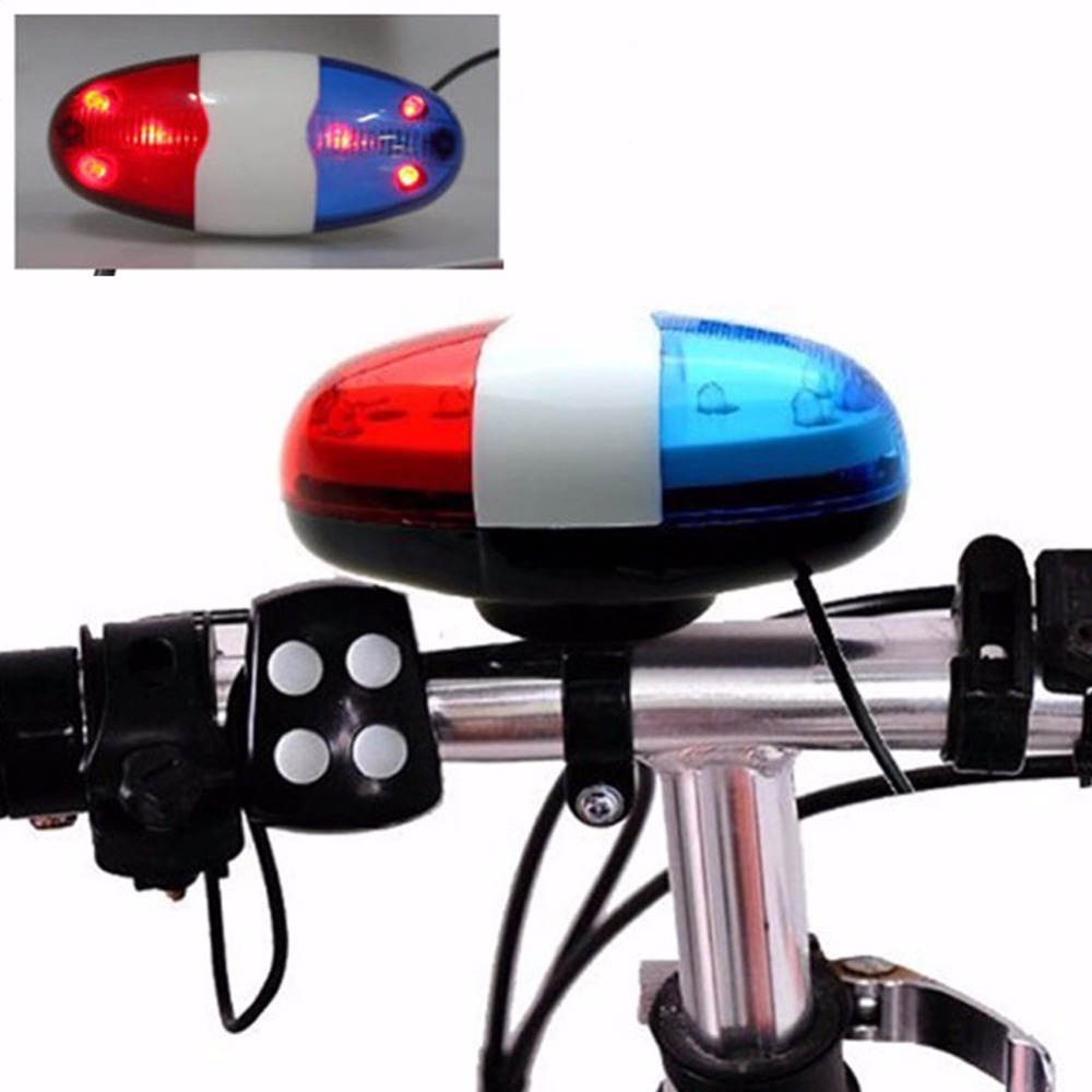 6 LED Bike Bell Police Taillight Rear Warning Siren Electric Horn Multifunction Cycling Front Light Warning Light Bicycle Bell