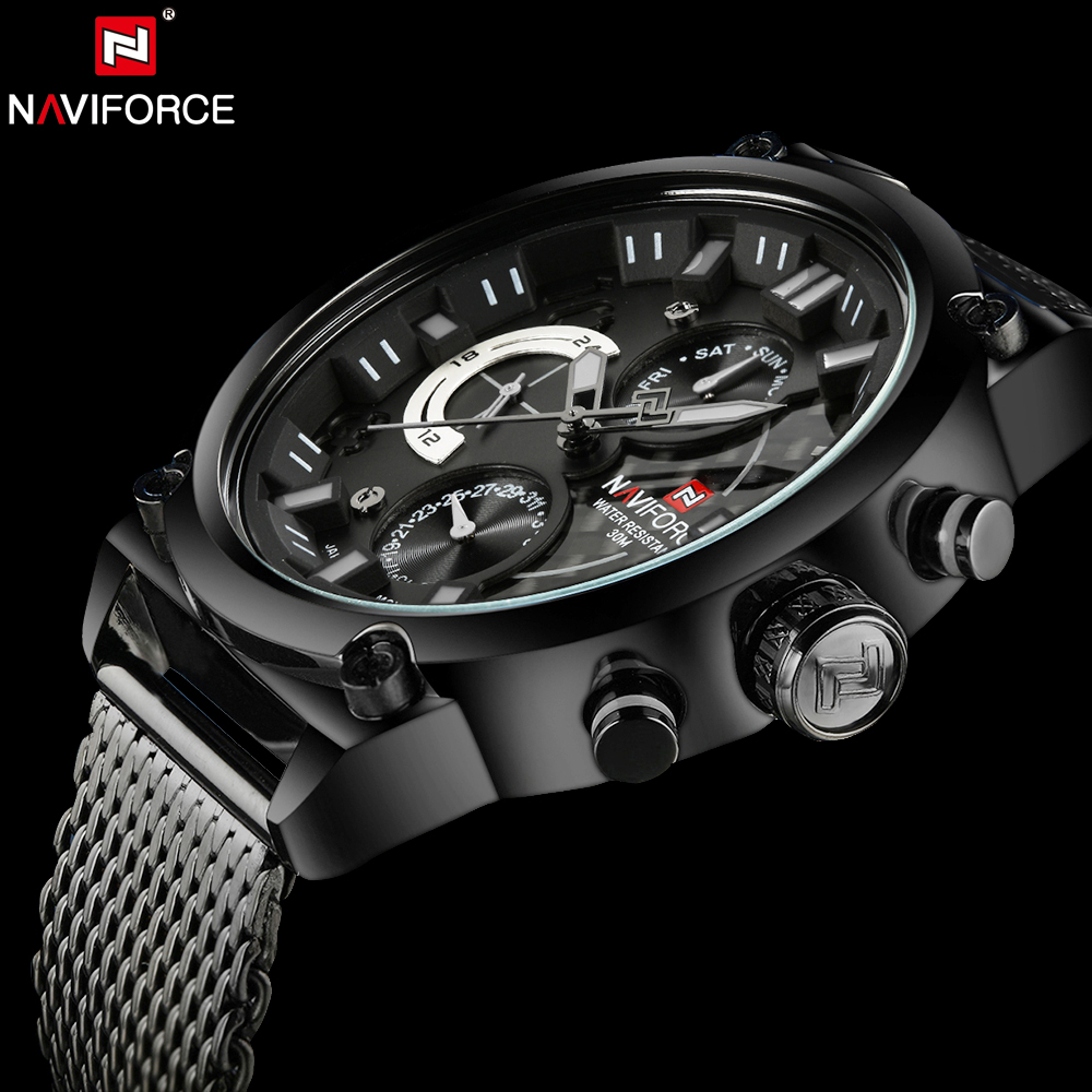 NAVIFORCE Luxury Brand Man 3ATM Waterproof Clock Mens Analog Quartz 24 Hour Date Watches Men Sport Full Steel WristWatch<br>
