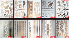 10PCS Gold Silver Tattoo India Sun Moon Stars Waterproof Temporary Tattoo Sticker Black Chain Bracelet Design Flash Tattoos(China)
