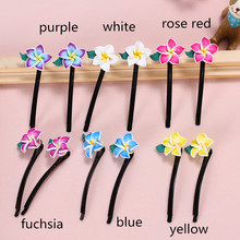 2pairs(4pcs/lot) Hawaiian Small Polymer Clay Fimo Plumeria Flower Hair Barrettes Clip Pins Grips For Girls Headdress Accessories(China)