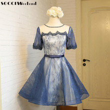 SOCCI Weekend Blue Cocktail Dress 2017 knee Length Short Sleeves robe de Formal Wedding Party Dresses Sweet Girls Evening Gowns(China)