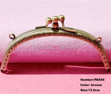 Free Shipping PA044 10pcs Blank Purse Frame Hanger 13.5cm Bronze Metal Clasps Purses Accessories Handles Handbags Diy Bag Parts