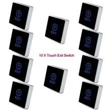 10 pcs TIVDIO Generic NC NO Release Button Switch DC 12V Square Touch Sensor Door Exit With LED Light For Home Security F1742A