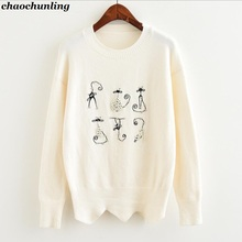 Lady O-neck Loose Waist Pullover Sweaters 2017 New Autumn and Winter Women Cartoon Kitten Pearl Knitting Sweater(China)