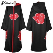 Japanese Anime Akatsuki Cloak Naruto cosplay costume Akatsuki Organization Members Cloak Ninja Uniform Sasuke Robe hooded(China)