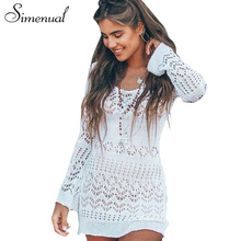 Buy Simenual Hollow knitted beach dress female 2018 spring summer slim sexy pareos swimwear long sleeve short dresses women for $7.59 in AliExpress store