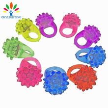 50pcs/lot LED Light Strawberry Flashing Finger Ring Elastic Rubber Ring Event Party Supplies Luminous Toys Party Decoration(China)