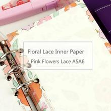 Jamie Notes Floral Pink Flowers Lace Inner Page Note Book Binder Notebook Planner Diary Core A5a6 Filler Paper 2017 Stationery