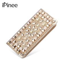 iPinee New Fashion PU Leather Clutch Bags Long Gold Diamante Women Wallet Money Clips Female Big Purse(China)