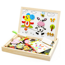New Multifunctional Wooden Toys Educational Magnetic Puzzle Farm Jungle Animal Children Kids Jigsaw Baby Drawing Easel Board