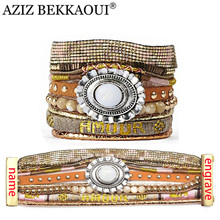 Brand Design Charms Bracelets For Women Handmade Wrap Bangle Bohemian Wide Bracelet Men Engraved Name Personalized Jewelry AZIZ