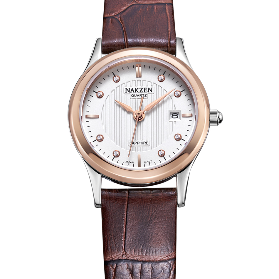 Fashion Luxury  NAKZEN Brand Ladies Models Sapphire Mirror 10ATM Waterproof Brown Watches Leather Switzerland Import Movement<br>