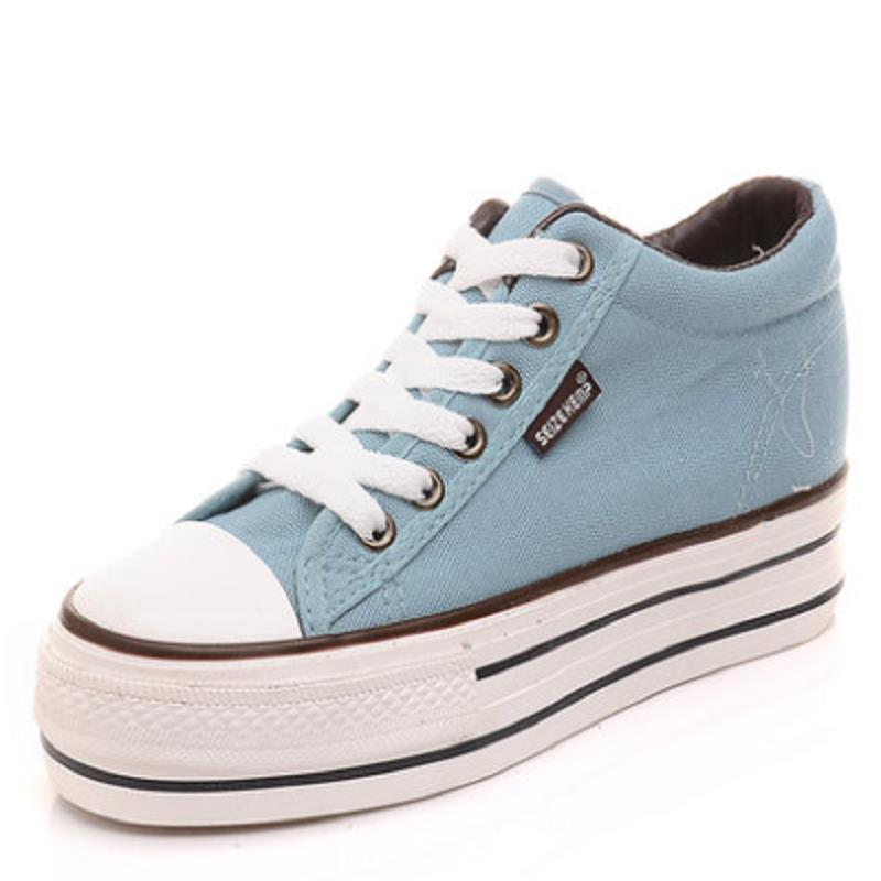 2016 Spring New Female Casual Canvas Shoes Increase In Thick Bottom Korean Women Shoes Outdoor Skate Shoes Loafers Scarpe Donna<br><br>Aliexpress