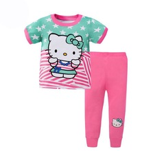 PJ39 Cheap Girls Pyjamas Hello Kitty Cartoon Pajamas Cotton Sleepwear For Girl Baby Pijams Summer Kids Pajama Sets Pijamas Night