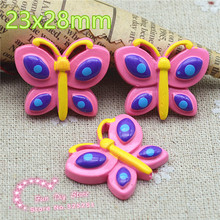 wholesale Resin Cabochon Flat Back hot pink butterfly craft for Scrapbooking hair bow center(China)