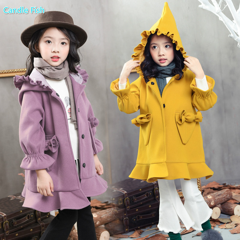 Girl autumn and winter dress woolen jacket 2017 new Korean Princess thick hooded long section of wood ear warm wool coat<br>