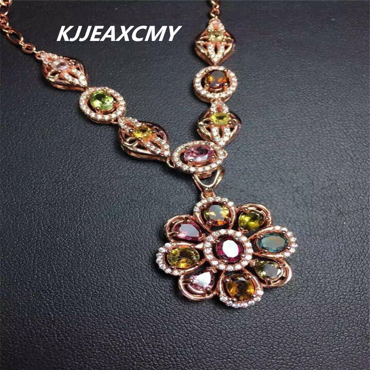 KJJEAXCMY boutique jewelry,Natural tourmaline female necklace pendant jewelry, S925 sterling silver can be opened