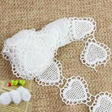 3 Yards Lovely Heart Lace Trim Venice Lace Heart Appliques Fashion design for Cloth wedding Purse bag doll dress