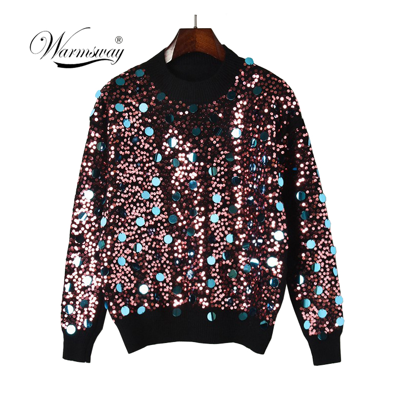 women handmade sequin beading long sleeve pullover sweater 2018 autumn winter knit top femme mujer C-438