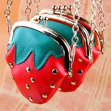 Wallets strawberry bag for girls fruit key leather purses chain diagonal cross purses wholesale pieces piece Drop shipping