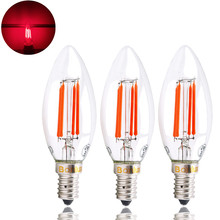 SES LED Red Filament Candle Bulb 4W Edison Screw E14 LED Decorative Red Fireglow Antique Candle Light Bulbs 40W Replacement(China)