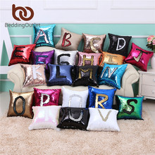 BeddingOutlet Mermaid Sequin Cushion Cover Magical Changing Blue Silver Fashion Decorative Pillow Protectors for Sofa 40cmX40cm