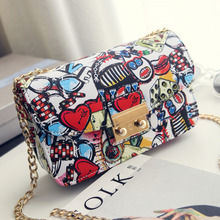 2016 New Women Bags Summer Graffiti Ladies designer handbags high quality chain mini bag women messenger bags for women Clutch