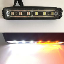 6LED Car Truck Trailer Emergency Light Bar Hazard Strobe Warning White Amber