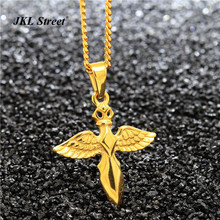 "Micro Angel Winged Sword Cross Dagger Pendant 24"" Cuban Chain Necklace Romantic Birthday Present For Women JF2273(China)"