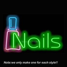 Nails Neon Sign w/ Bottle Pub Store Beer Pub Recreation Room Windows Sign Neon Signs Club Display Advertising Great Gifts 19x15