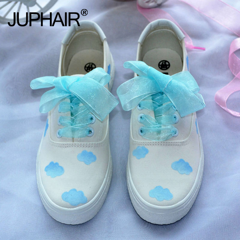 JUP Female Small Floral Soft Girl Girlfriend Honey Wild Flat Single White Shoes Hand-painted Canvas Shoes Blue Sky Blue Shoelace<br>