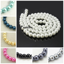 6mm, 140pcs/strand Ivory Glass Imitation Pearl Round Loose Jewellery Beads For Jewelry Necklace Craft Making Blue Pink Black