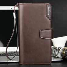 Men's Purse Long Men Wallets Luxury Design PU Leather Men Wallet with Strap Business Clutch Male Fashion  Men's Clutch