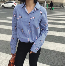 Nerlerolian New Women Swan Shirts Striped Long Sleeve Turn-down Collar Button Fly Winter Spring Female Girl's Top Blouses QQ8761(China)