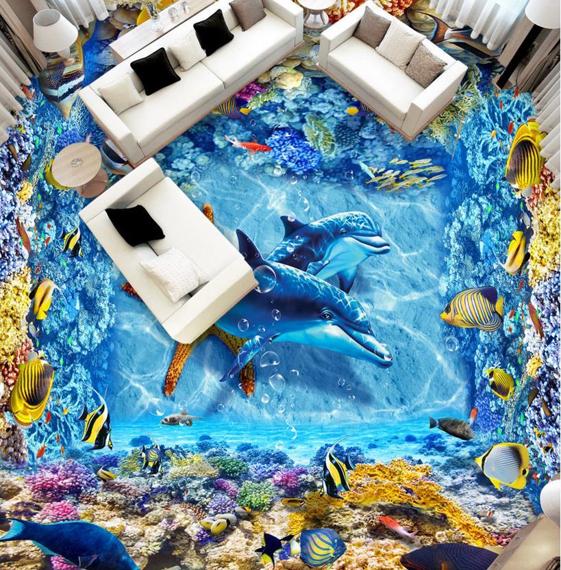 3d wallpaper tile flooring custom kitchen vinyl wallpaper The underwater world 3d floor painting wallpaper waterproof <br><br>Aliexpress