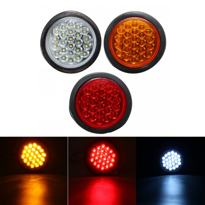 1Pcs Red Yellow White 24 SMD Car Round Tail Lights Turn Singal Light ATV LED Reflectors Truck Side Marker Warning Lights<br><br>Aliexpress