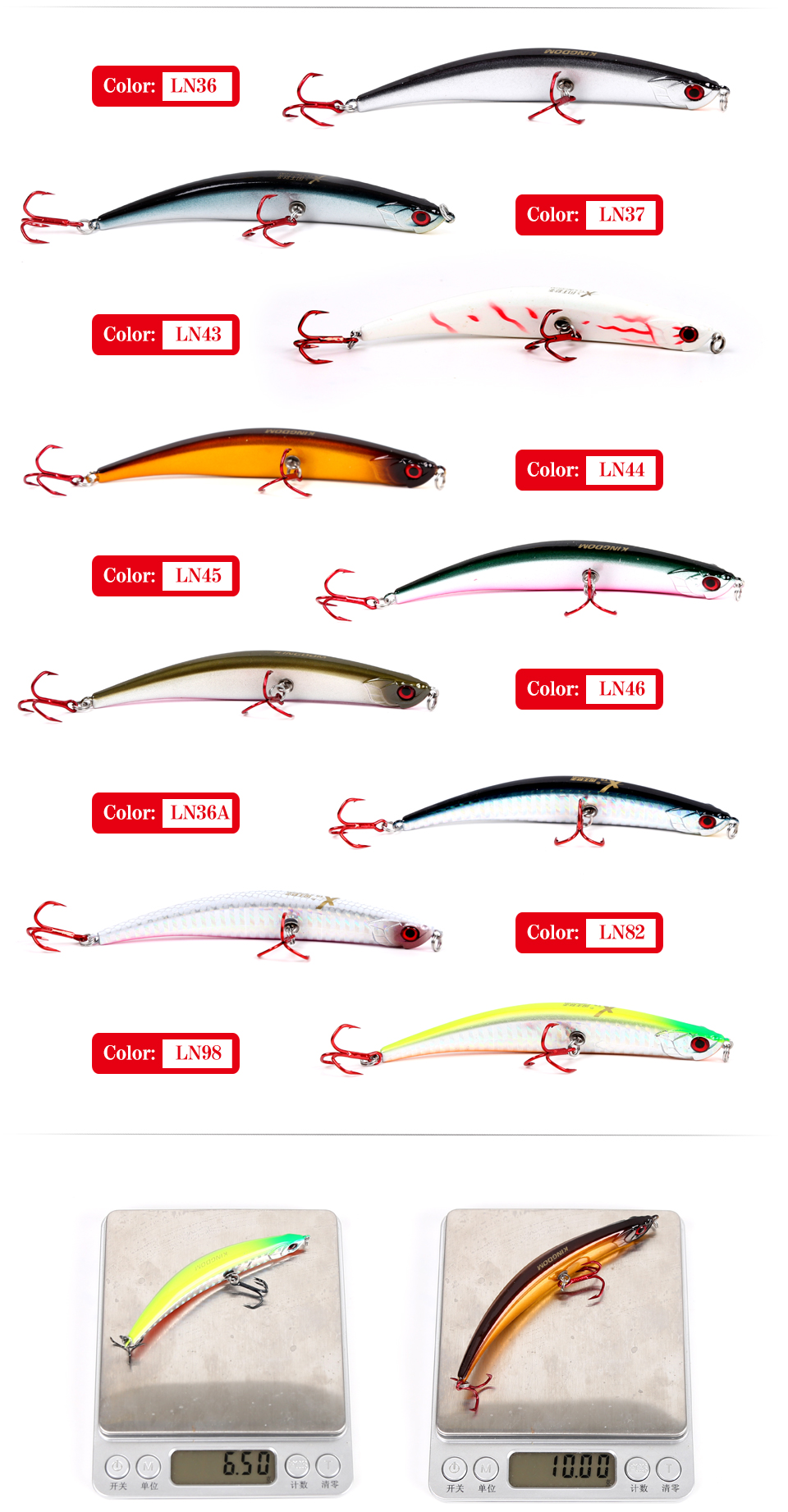 Kingdom Floating Pencil fishing lures 110mm10g 86mm6.5g Hard Baits Bending shape RED VMC Hook lure for Sea bass model 5349 (5)