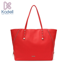 Kadell Women Leather Handbags Personality Side Zippers Designer Bags Famous Brand Red Casual Tote Rivet Bucket Shoulder Bag(China)