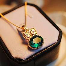 2017 New Fashion Women Necklace Gold Chain Green Lovely Emerald Rabbit Lovely Crystal Necklaces & Pendan Women Jewelry