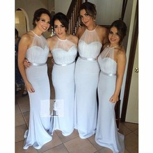 Elegant Sheath Halter Long Bridesmaid Dresses Sash Formal Gowns Prom Party Dresses Size 2 4 6 8 10 12 14 16