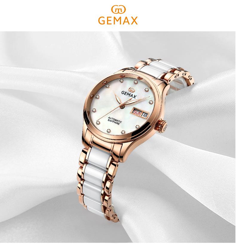 GEMAX Women Watches Waterproof Automatic Mechanical Watch Ladies Fashion Top Brand Diamond Calendar Ceramic Sapphire MIYOTA 2017 (2)