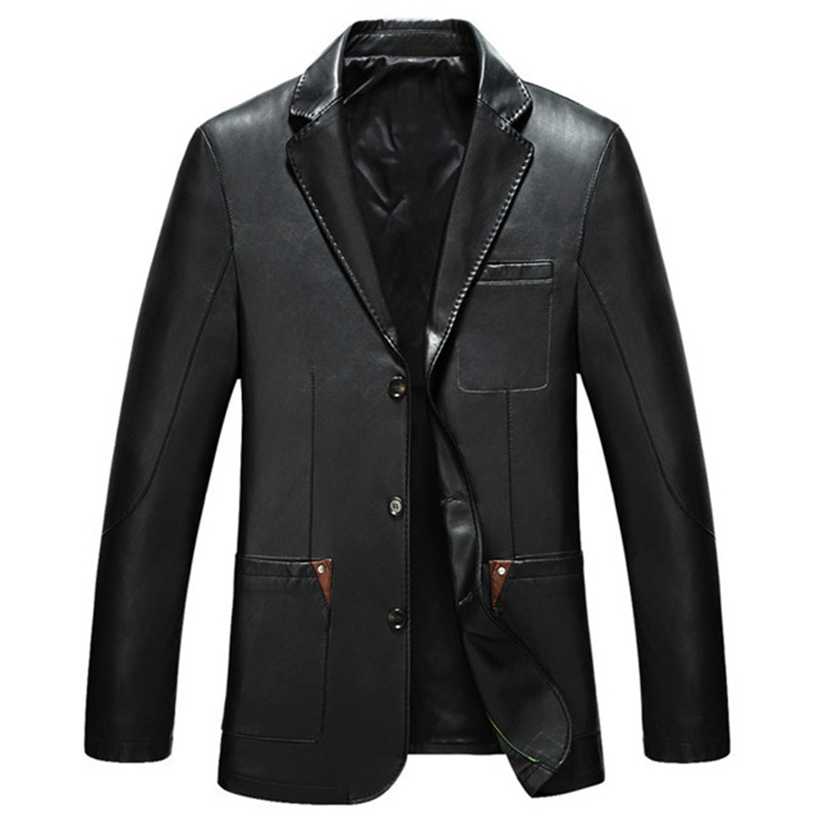 Leather jacket new look - New Arrival Fashion Style Men Autumn Casual Wear Coat Pu Leather Jackets Turn Down Collar