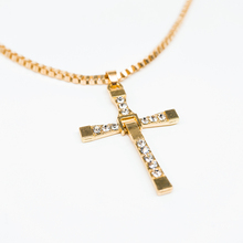 New Design Cross Pendant Necklace Gold Silver Color Crystal Chain Necklaces Men Women Fashion Jewelry(China)