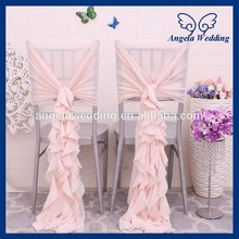 CH099D popular wedding ruffled curly willow blush pink chiffon chair cover(China)