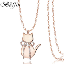 BAFFIN Cute Rose Gold/Silver Color Cat Pendant Necklace With Long Chain Crystals From Austria For Wonder Women Kids Jewelry(China)