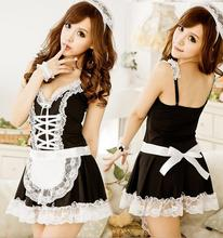 Buy 2017 hot Sexy Lingerie Sexy Underwear Lovely Female Maid Lace Sexy Miniskirt Lolita Maid Outfit Sexy Costume Sex Products