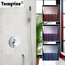 Torayvino Bathroom LED Shower Set LED Bathroom Shower Set Brass Chrome Wall Mounted Shower Faucet Shower Head Shower Set Faucets