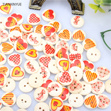 TIANXINYUE Hot 50PCs Wooden Buttons Red Heart Pattern Decorative Buttons 2-Hole Fit Sewing Scrapbooking Craft DIY 15mm Mixed(China)