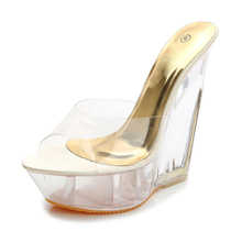 Summer Fashion High Heels Sandals Slippers Mules Transparent Crystal Platform Wedges Shoes 15CM Jelly Sandals zapatos mujer(China)