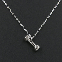 Fashion Solid 925 Sterling Silver Fitness Dumbbell Necklace Barbell Pendant for Women Rose Gold Silver Color Jewelry